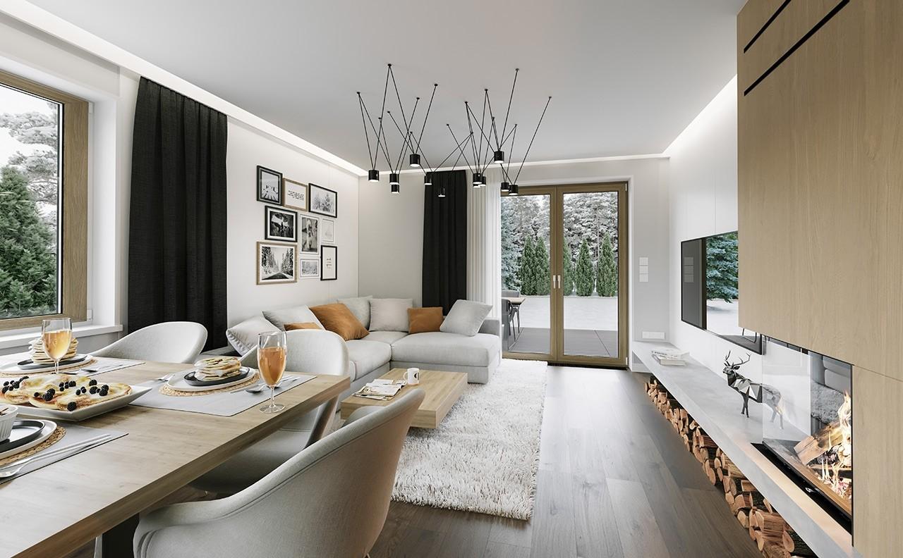 Projekt domu Kajtek - wizualizacja wnętrza odbicie lustrzane