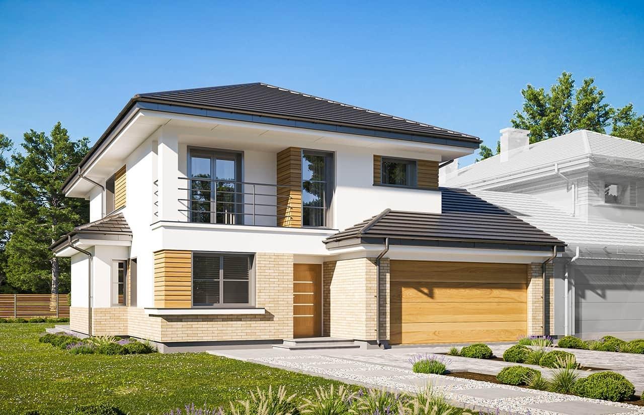 Projekt domu Kasjopea 2 wariant B - wizualizacja frontowa