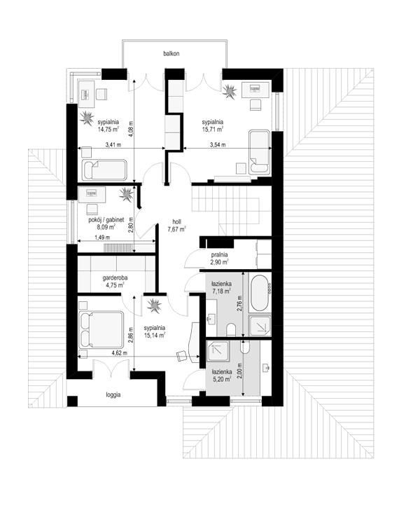 Kasjopea 7 B - rzut piętra odbicie lustrzane