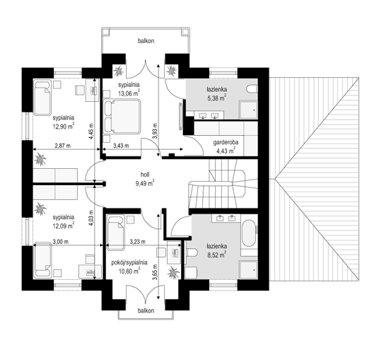 Magnat 3 - rzut piętra odbicie lustrzane