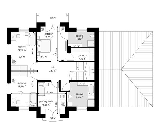 Magnat 4 - rzut piętra odbicie lustrzane