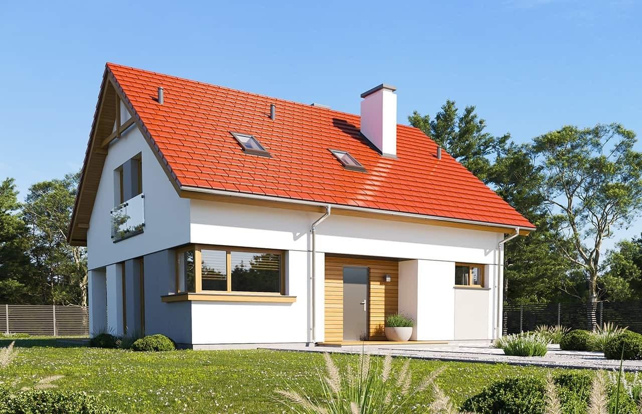 Projekt domu Optymalny wariant B - wizualizacja frontowa