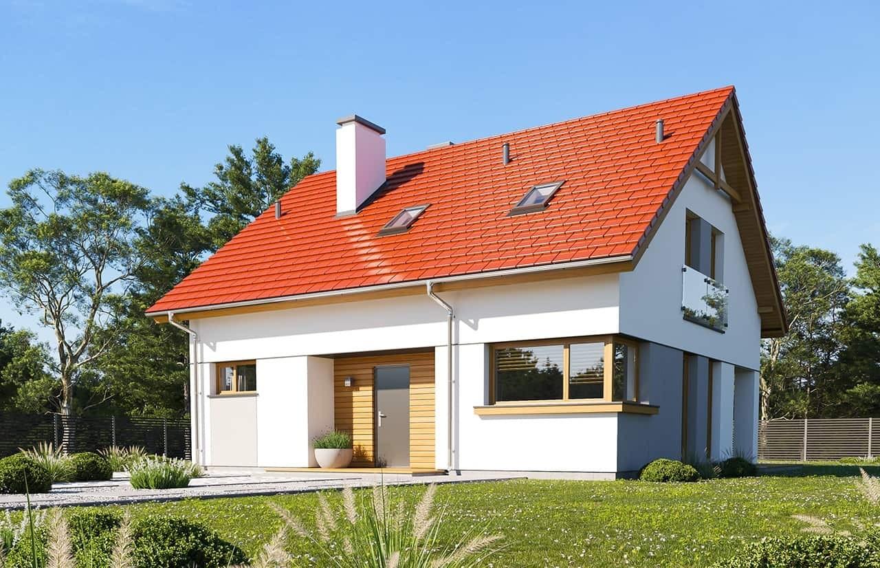 Projekt domu Optymalny wariant B - wizualizacja frontowa odbicie lustrzane