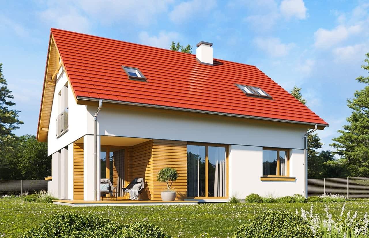 Projekt domu Optymalny wariant B - wizualizacja tylna odbicie lustrzane