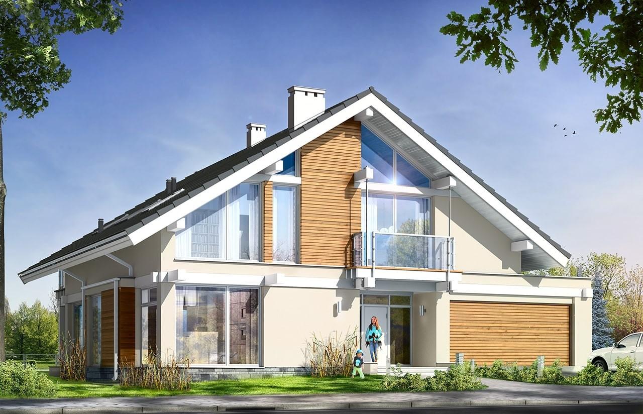 Projekt domu Otwarty wariant B - wizualizacja frontowa