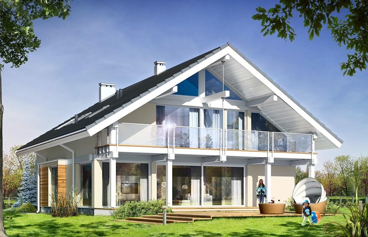 Projekt domu Otwarty wariant B - wizualizacja tylna odbicie lustrzane