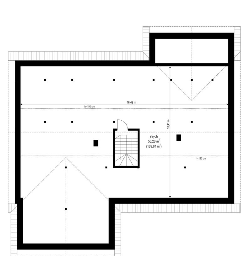 Projekt domu Parterowy 4 B - rzut strychu