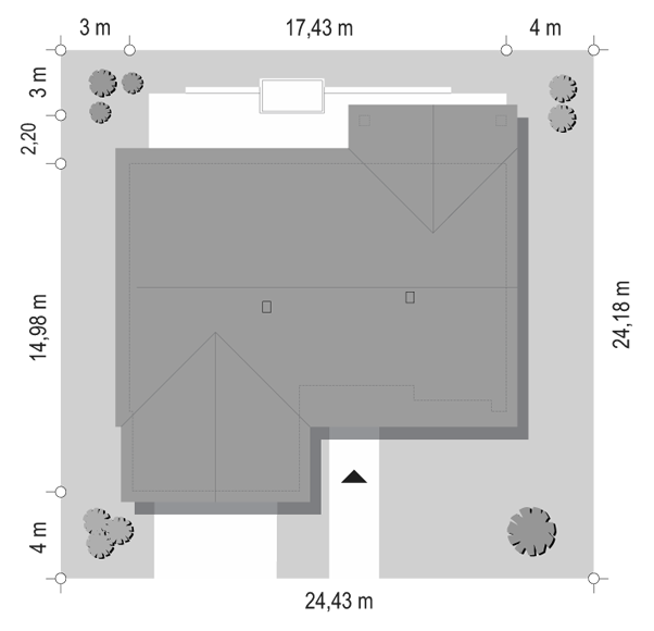 Projekt domu Parterowy 4 B - sytuacja