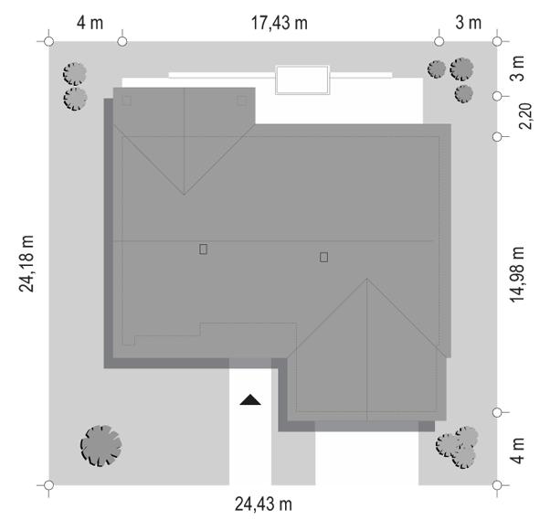 Projekt domu Parterowy 4 B - sytuacja odbicie lustrzane
