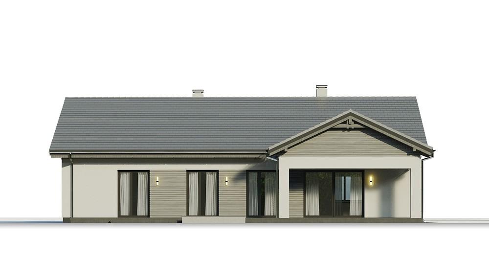Projekt domu Parterowy 4 B - elewacja odbicie lustrzane