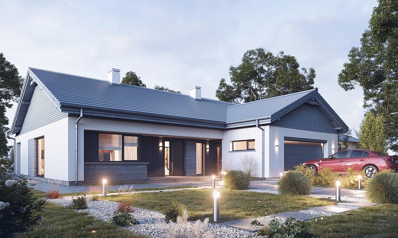 Projekt domu Parterowy 4 B - wizualizacja frontu odbicie lustrzane