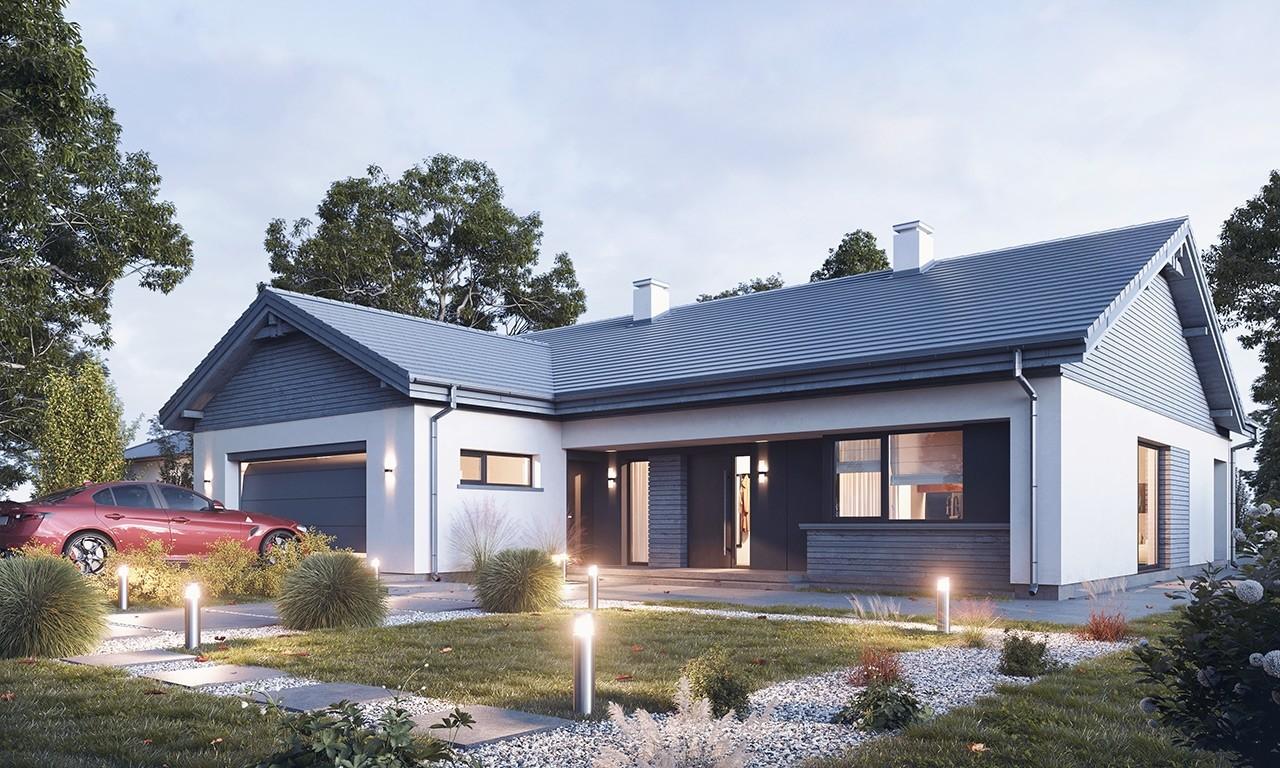 Projekt domu Parterowy 4 B - wizualizacja frontu