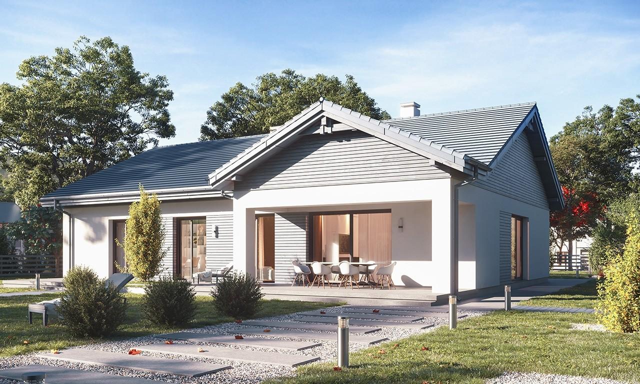 Projekt domu Parterowy 4 B - wizualizacja ogrodowa odbicie lustrzane