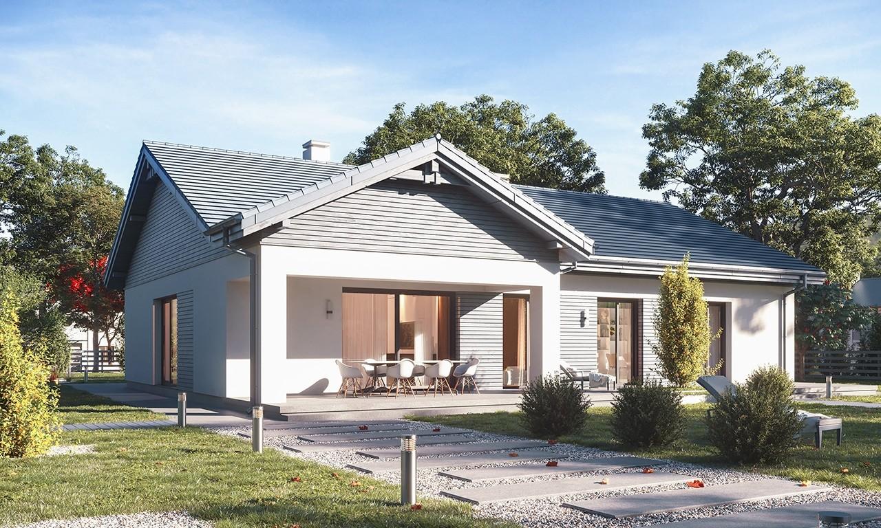 Projekt domu Parterowy 4 B - wizualizacja ogrodowa