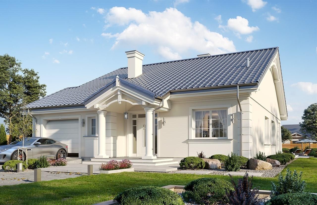 Projekt domu Parterowy wąski - wizualizacja frontowa
