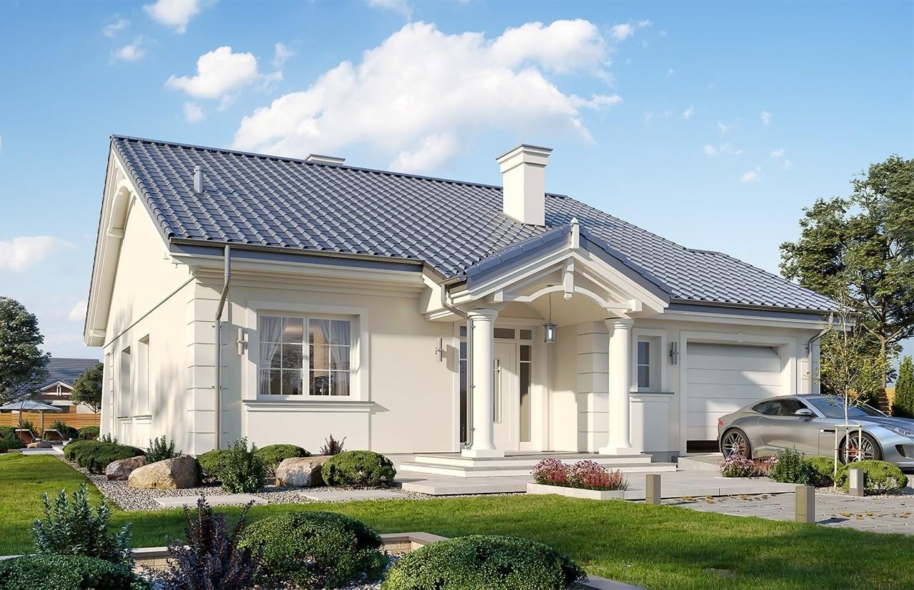 Projekt domu Parterowy wąski - wizualizacja frontowa odbicie lustrzane