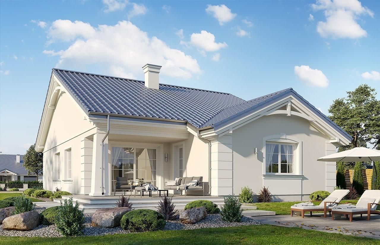 Projekt domu Parterowy wąski - wizualizacja tylna