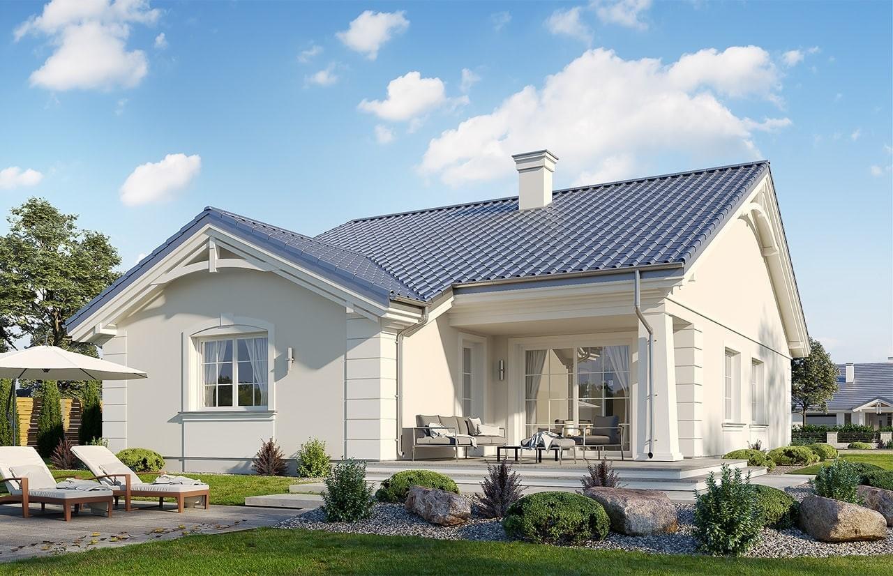 Projekt domu Parterowy wąski - wizualizacja tylna odbicie lustrzane