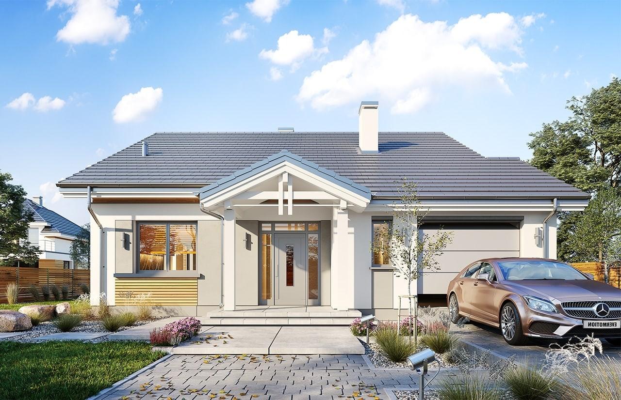 Projekt domu Parterowy wąski 2 - wizualizacja frontowa odbicie lustrzane