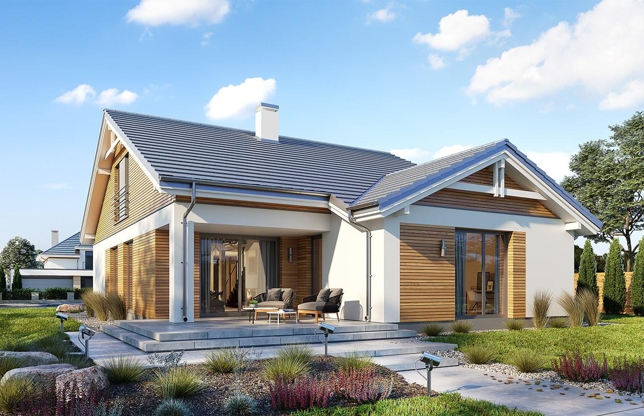 Projekt domu Parterowy wąski 2 - wizualizacja tylna