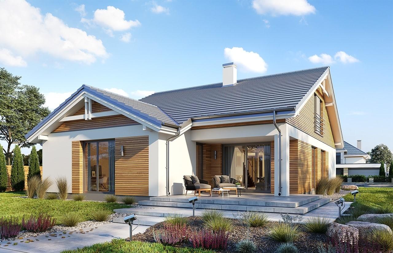 Projekt domu Parterowy wąski 2 - wizualizacja tylna odbicie lustrzane