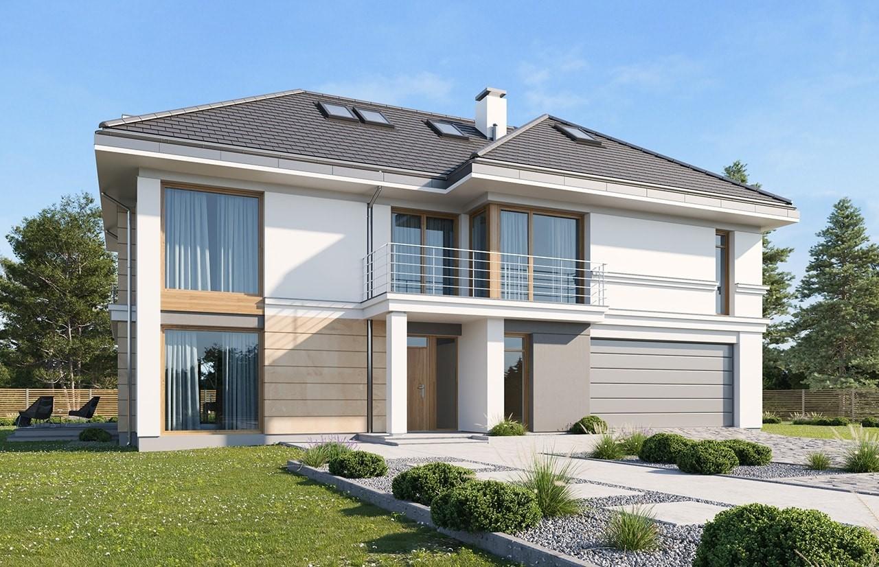 Projekt domu Riwiera 3 wariant E - wizualizacja frontowa odbicie lustrzane