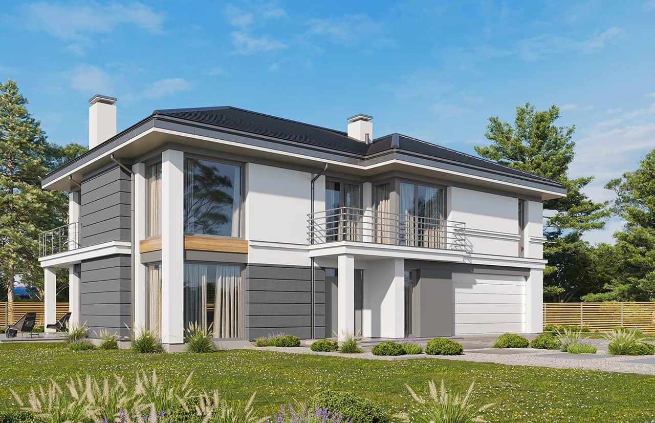 Projekt domu Riwiera 3 wariant C - wizualizacja frontowa odbicie lustrzane