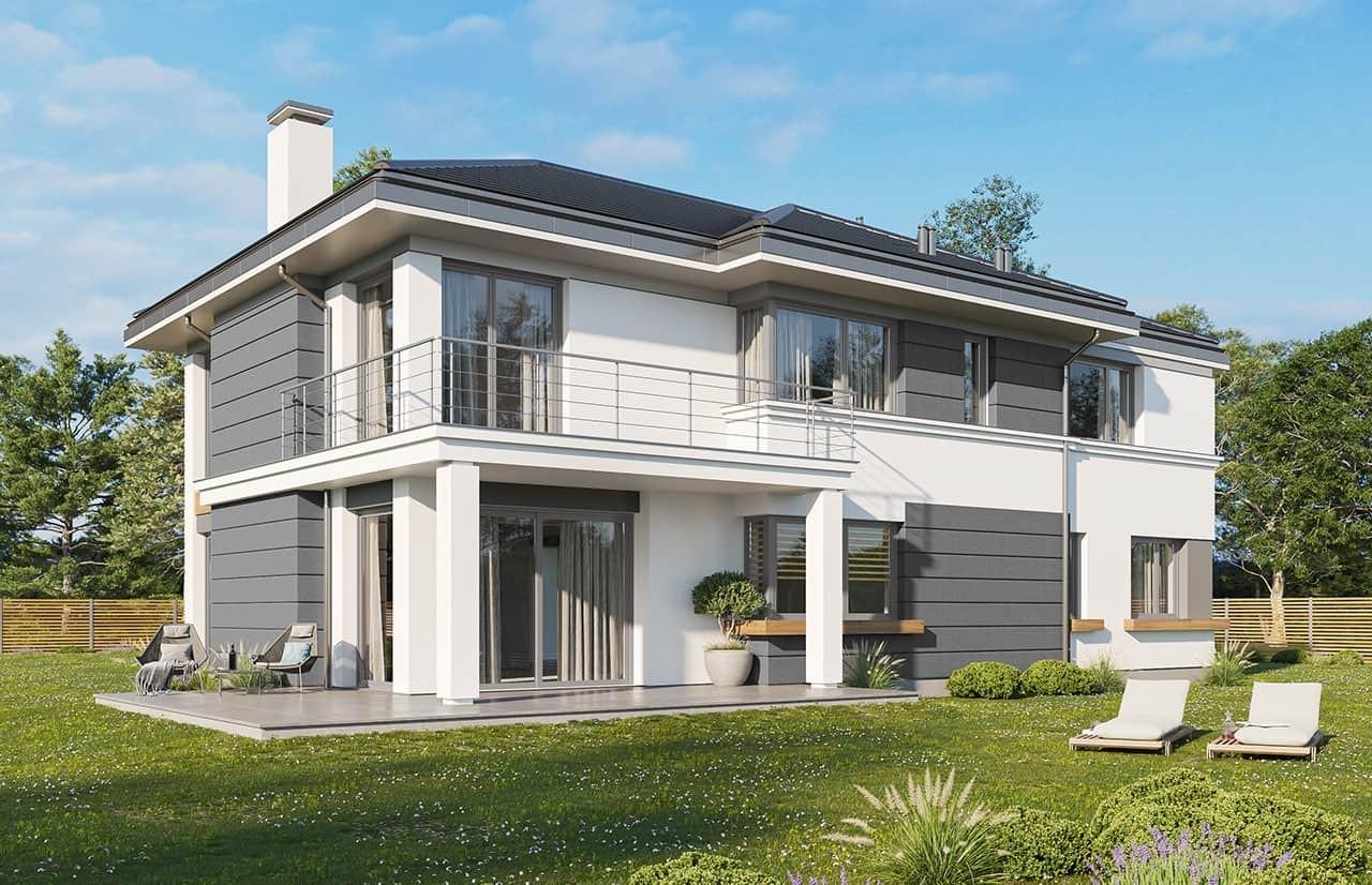Projekt domu Riwiera 3 wariant C - wizualizacja tylna