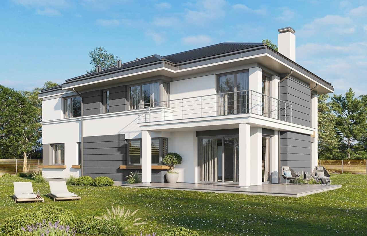 Projekt domu Riwiera 3 wariant C - wizualizacja tylna odbicie lustrzane
