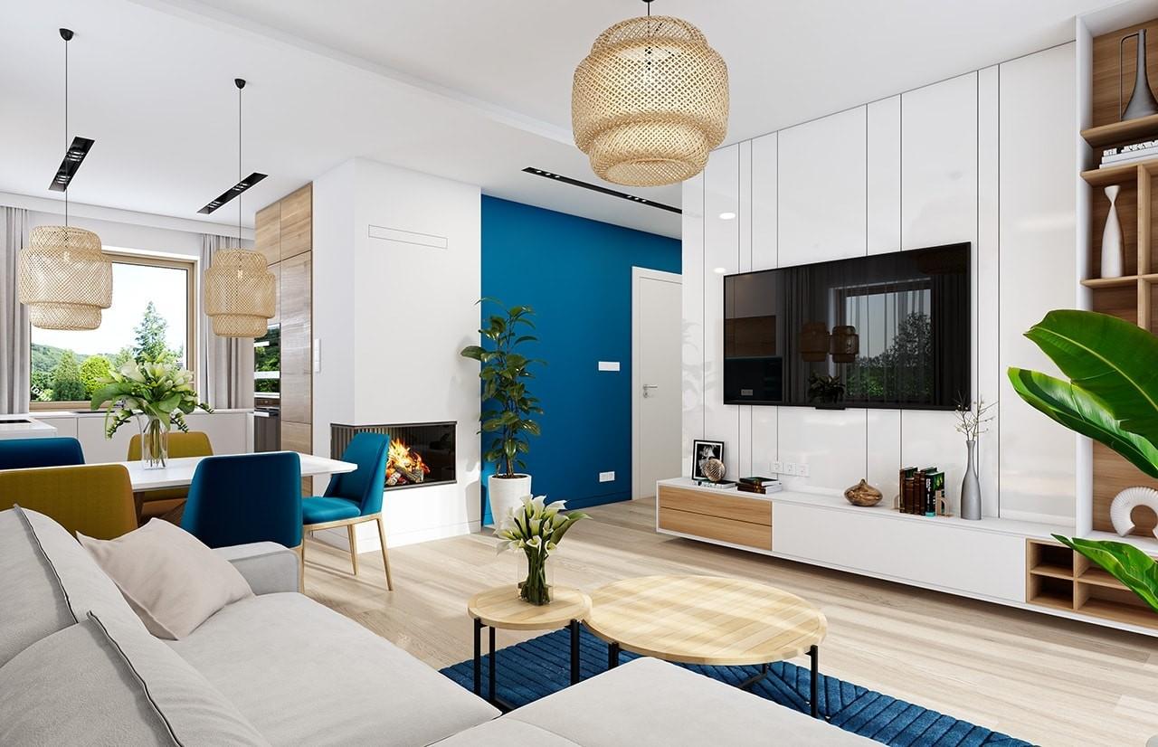 Projekt domu Sensowny 3 B - wizualizacja wnętrza odbicie lustrzane