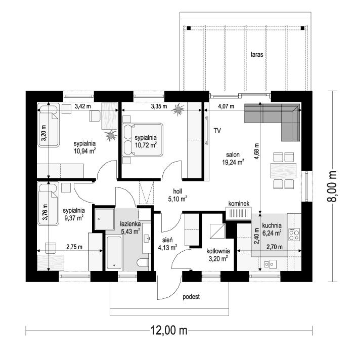 Projekt domu Sensowny 3 - rzut parteru odbicie lustrzane