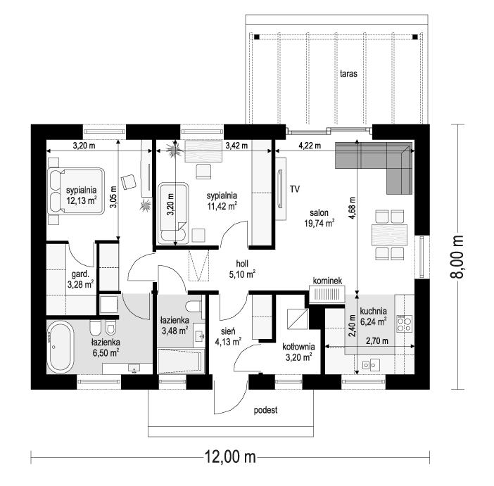 Projekt domu Sensowny 3 B - rzut parteru odbicie lustrzane