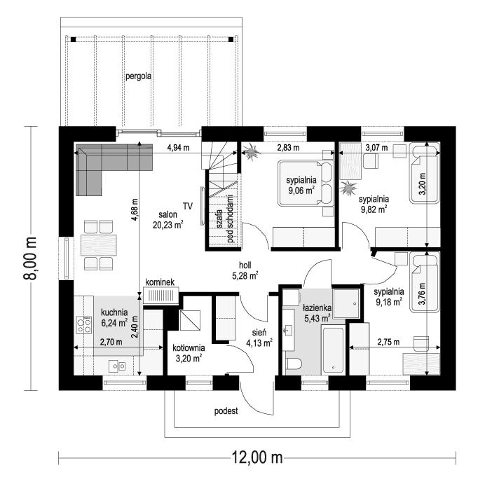 Projekt domu Sensowny 4 - rzut parteru