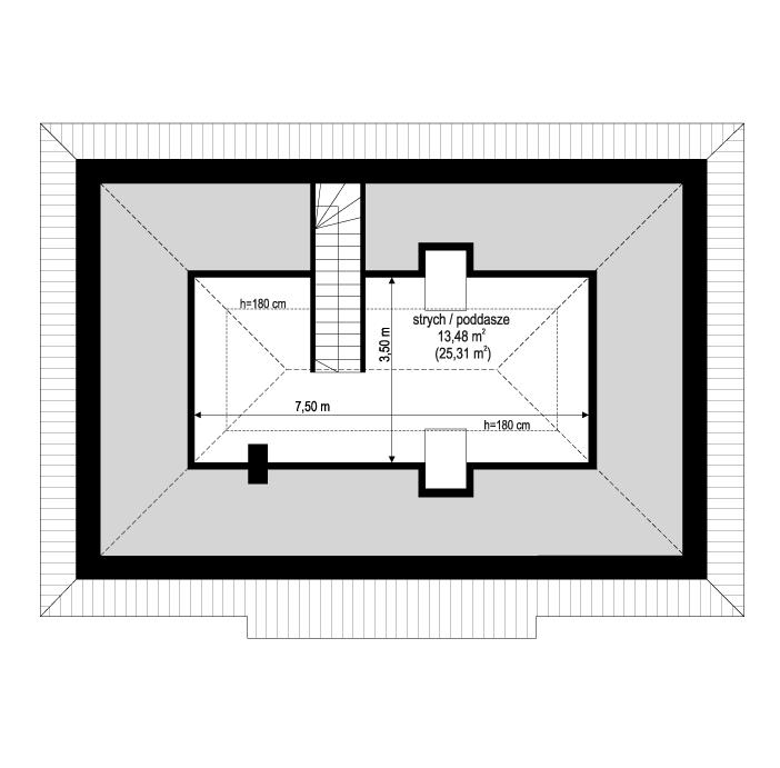Projekt domu Sensowny 4 - rzut poddasza