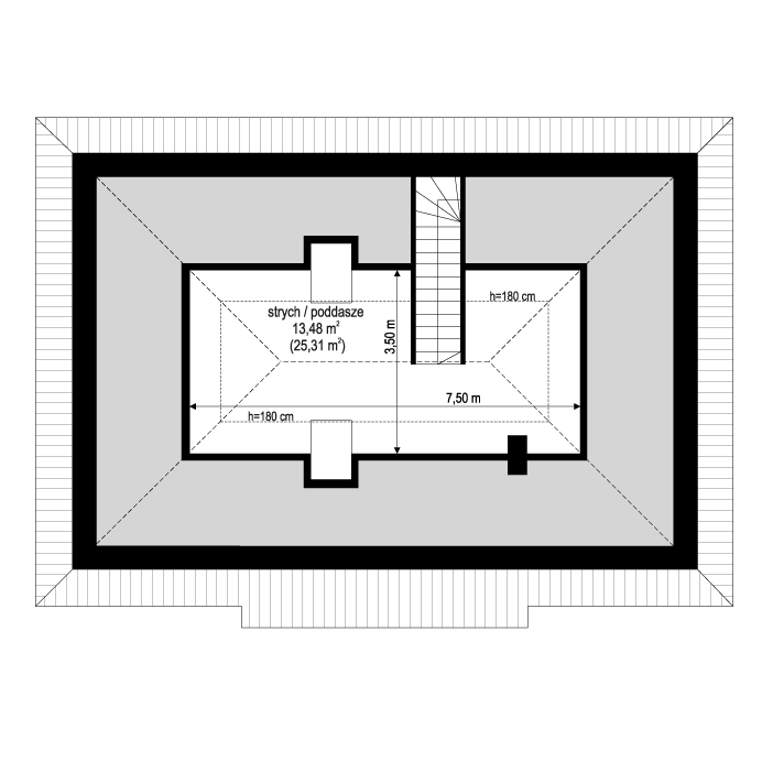 Projekt domu Sensowny 4 - rzut poddasza odbicie lustrzane