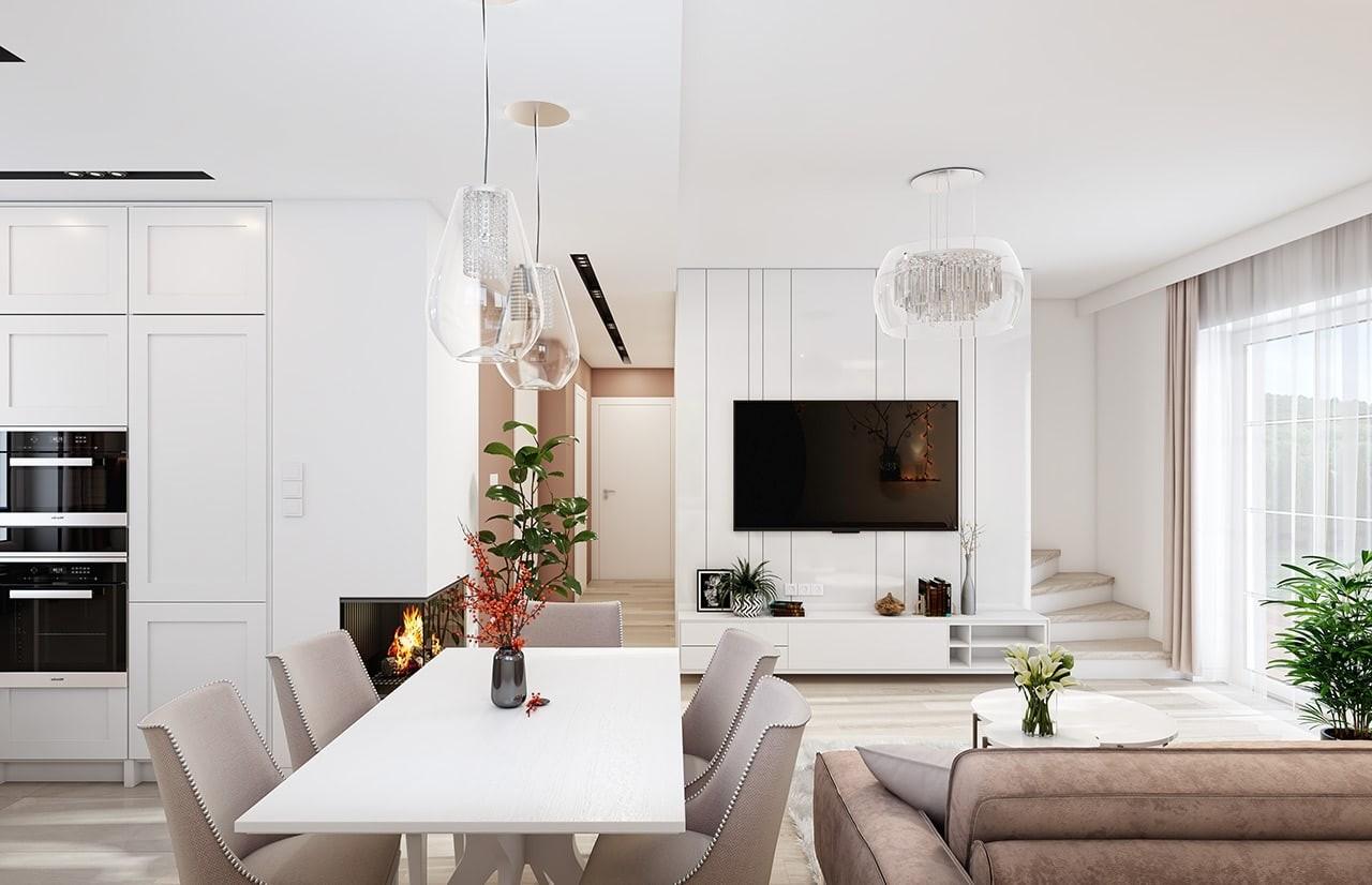 Projekt domu Sensowny 4 - wizualizacja wnętrza odbicie lustrzane