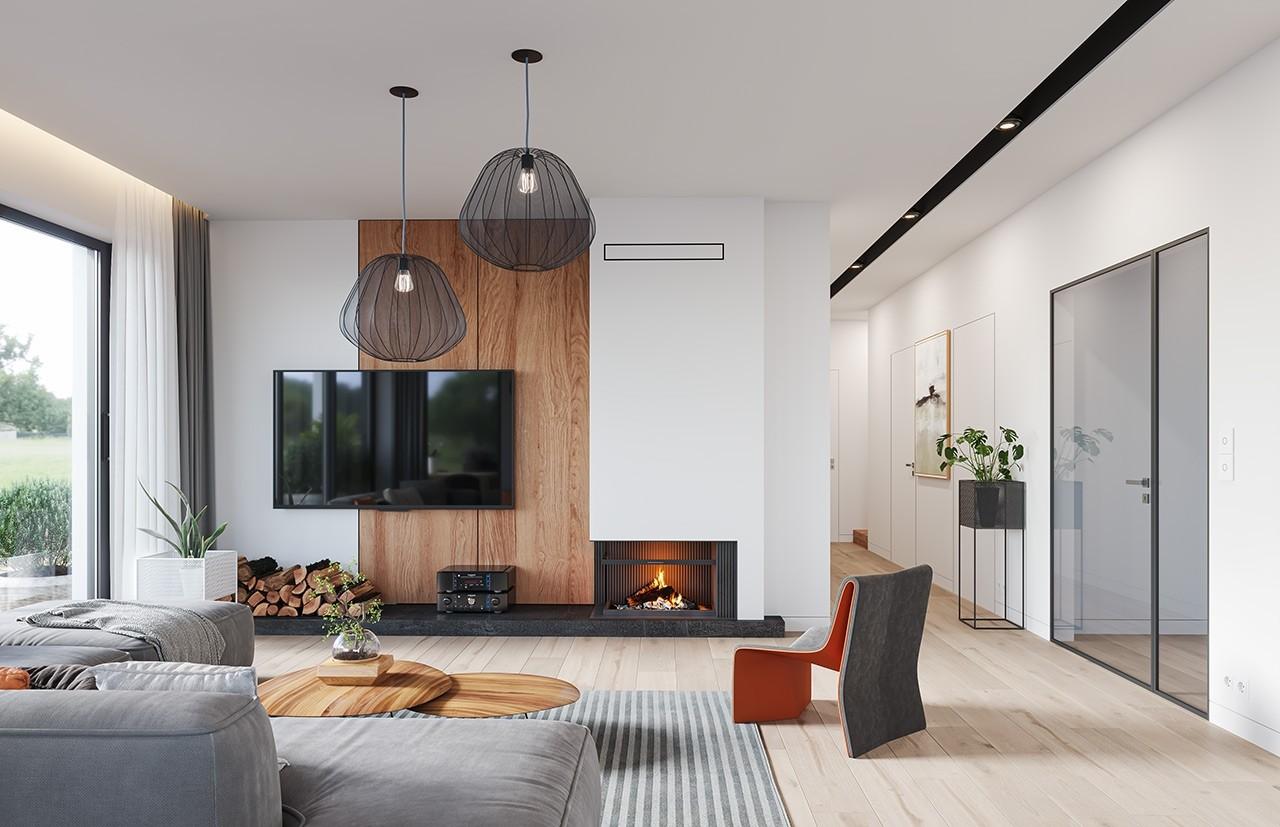 Projekt domu Sielanka - wizualizacja wnętrza odbicie lustrzane