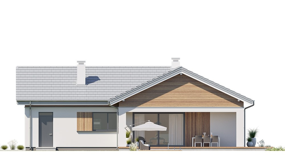 Projekt domu Sielanka 2 B - elewacja odbicie lustrzane