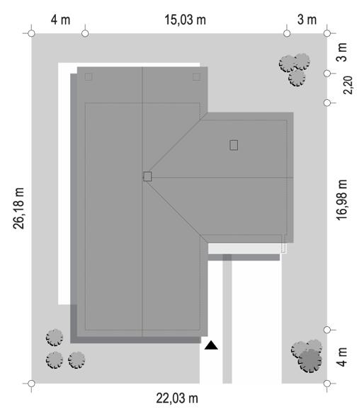 Projekt domu Sielanka 2 B - sytuacja odbicie lustrzane