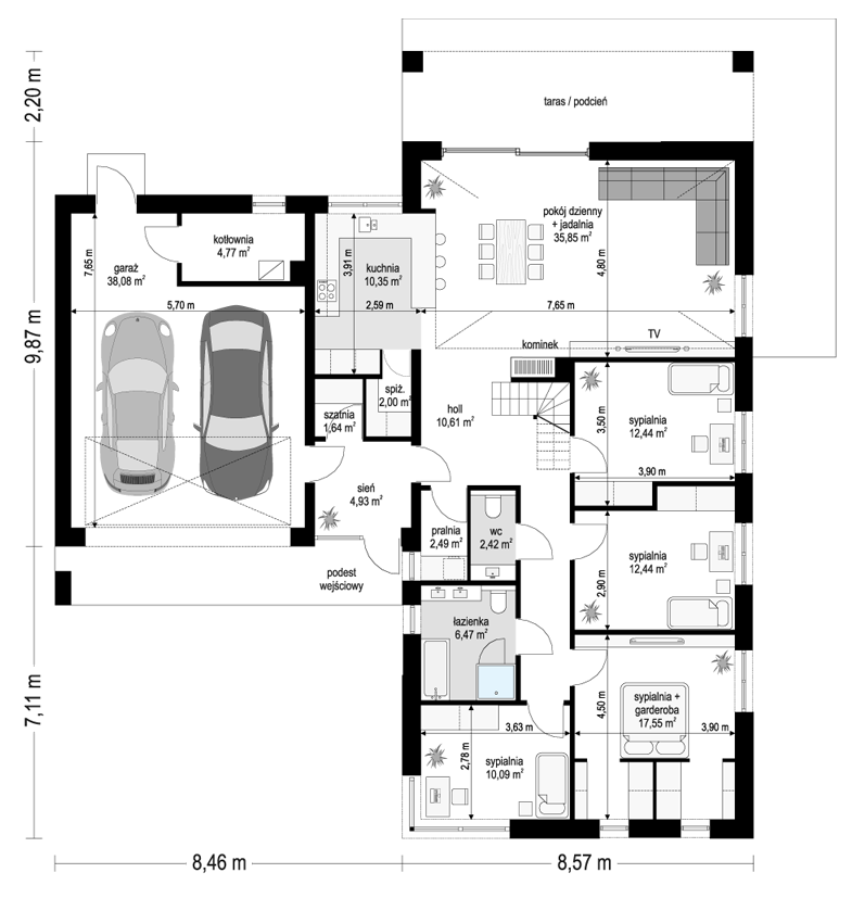 Projekt domu Sielanka 3 - rzut parteru