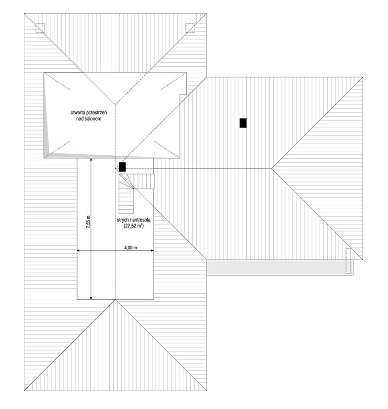 Projekt domu Sielanka 3 - rzut strychu odbicie lustrzane