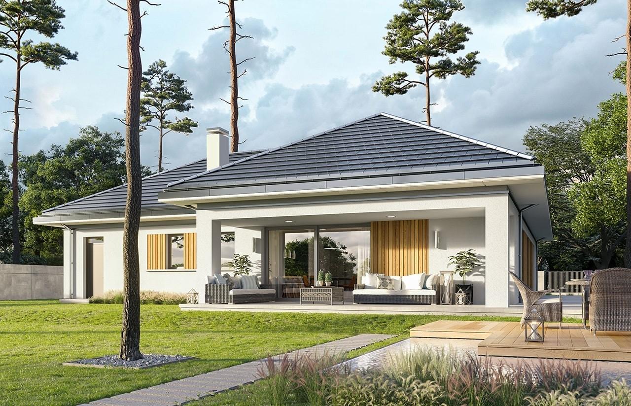 Projekt domu Sielanka 3 - wizualizacja ogrodowa odbicie lustrzane