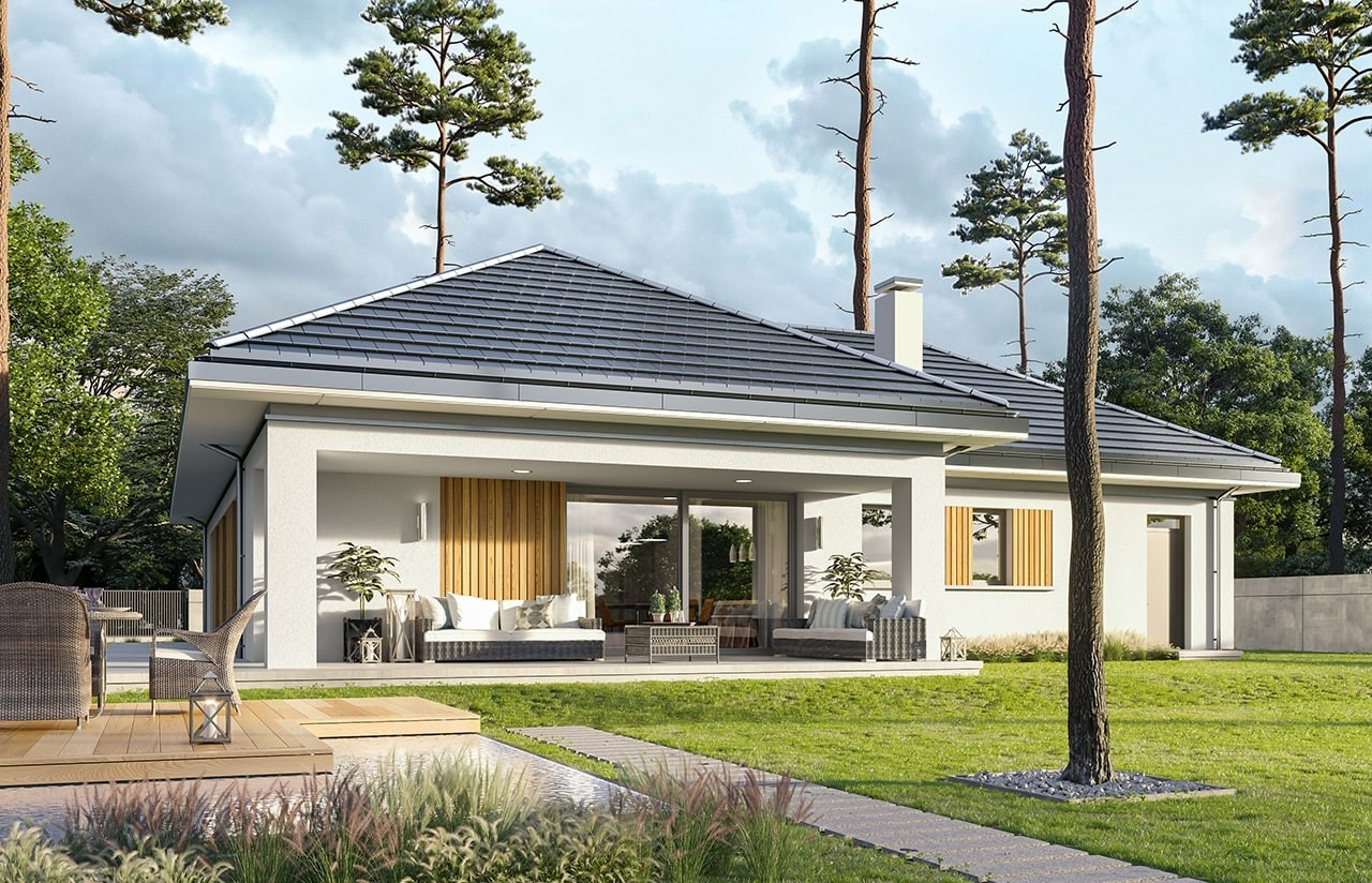 Projekt domu Sielanka 3 - wizualizacja ogrodowa