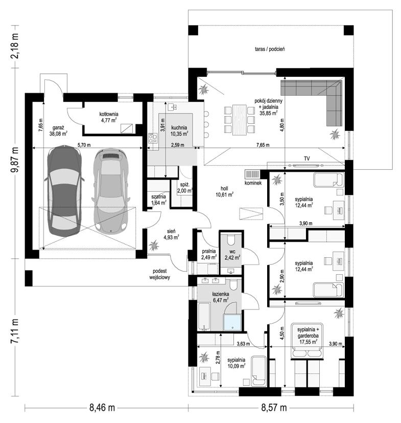 Projekt domu Sielanka 4 - rzut parteru
