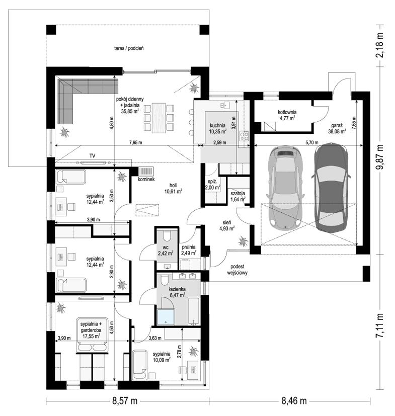 Projekt domu Sielanka 4 - rzut parteru odbicie lustrzane