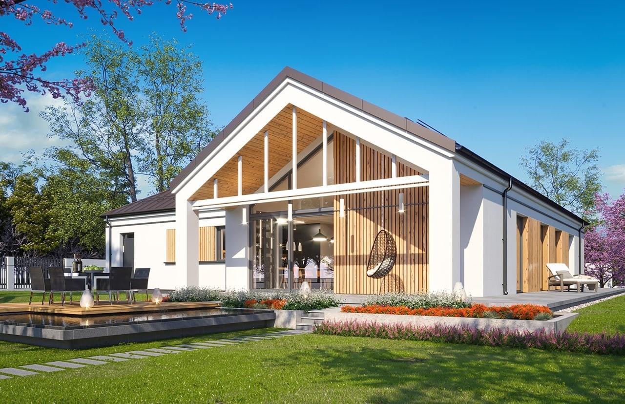 Projekt domu Sielanka 4 - wizualizacja ogrodowa odbicie lustrzane