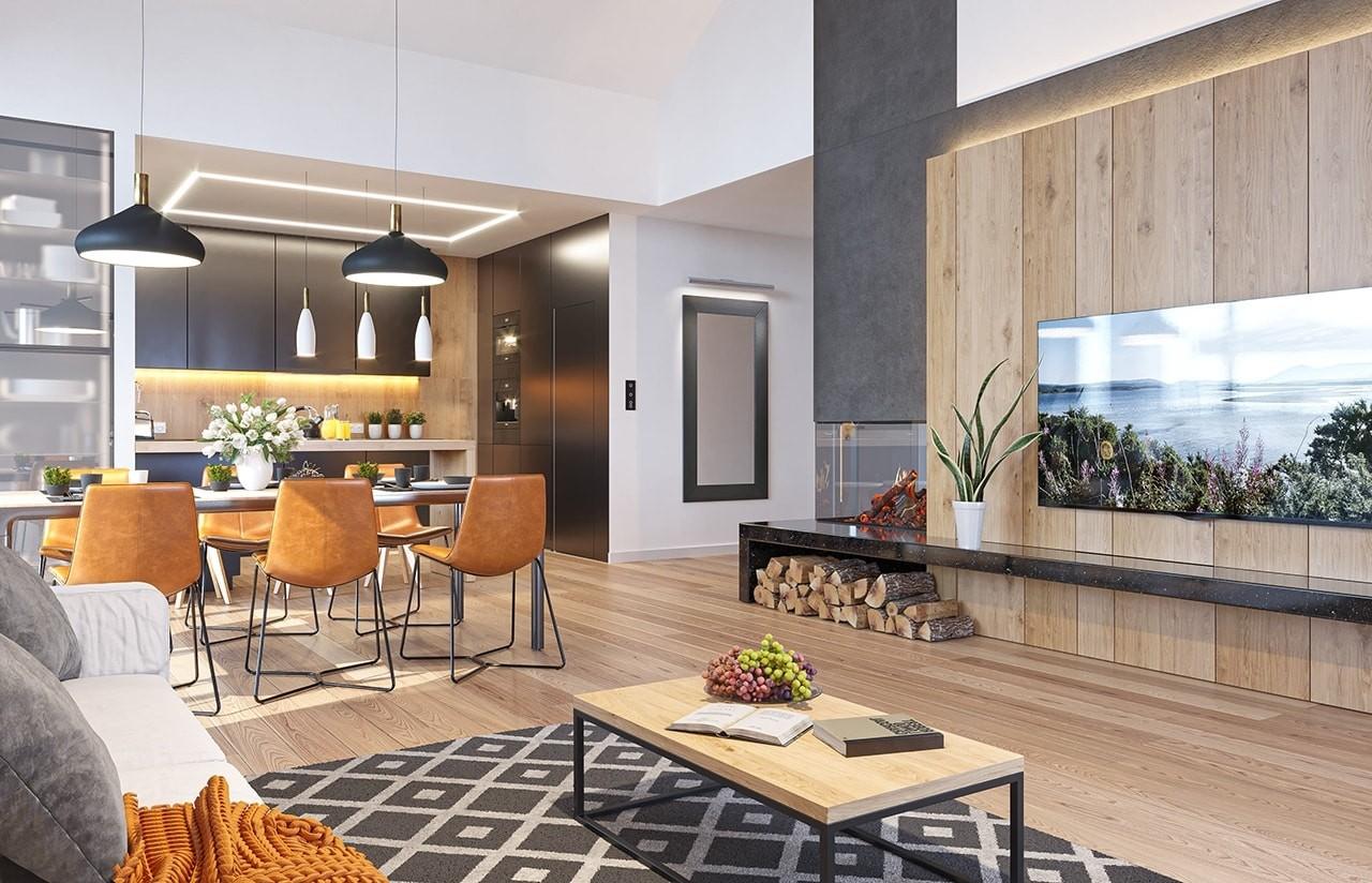 Projekt domu Sielanka 4 - wizualizacja wnętrza odbicie lustrzane