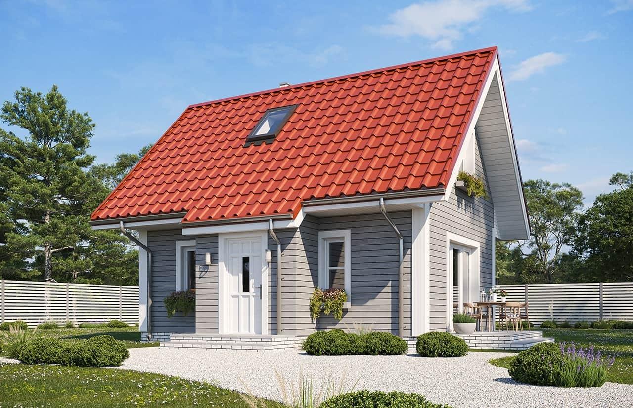 Projekt domu Sosenka drewniana wariant B - wizualizacja frontowa