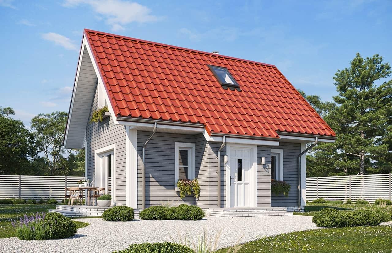 Projekt domu Sosenka drewniana wariant B - wizualizacja frontowa odbicie lustrzane