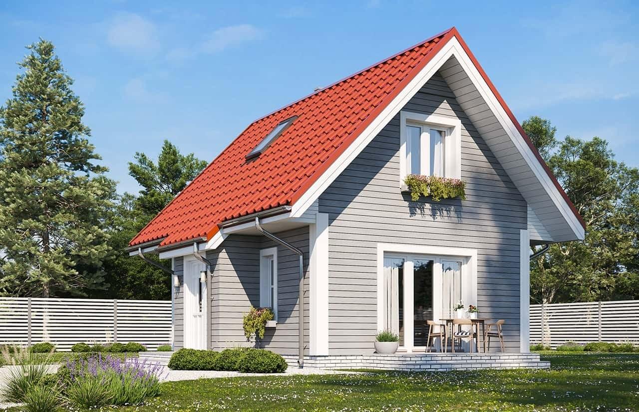 Projekt domu Sosenka drewniana wariant B - wizualizacja ogrodowa